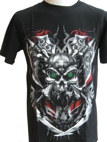 Metal Skull With Green Eyes T Shirt With Large Colour Back Print